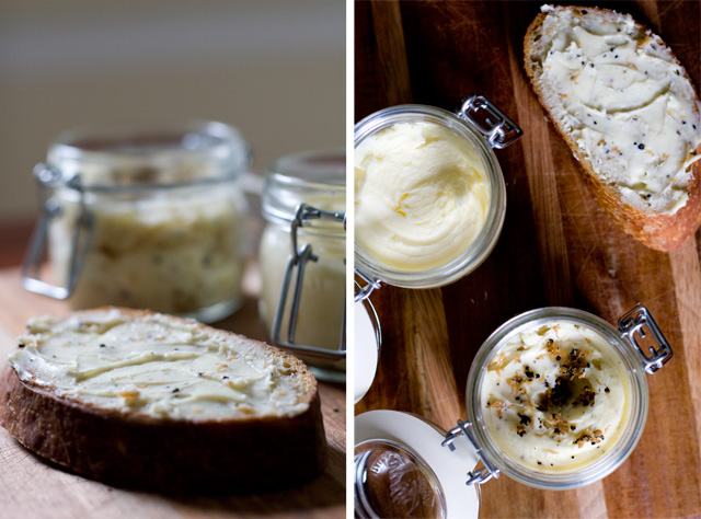 Jars of Homemade Butter and Homemade Bread