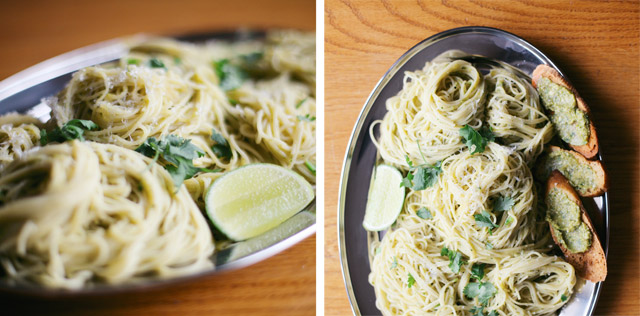 Poblano Pesto with Angel Hair Pasta