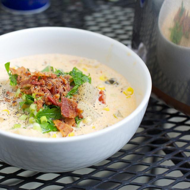 a bowl of perfect summer corn chowder