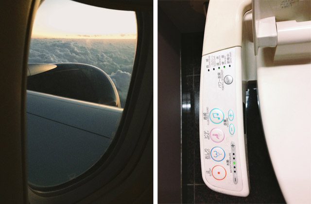 plane window and japanese toilet