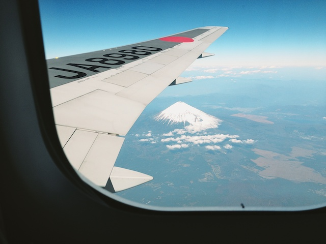mount fuji from the air