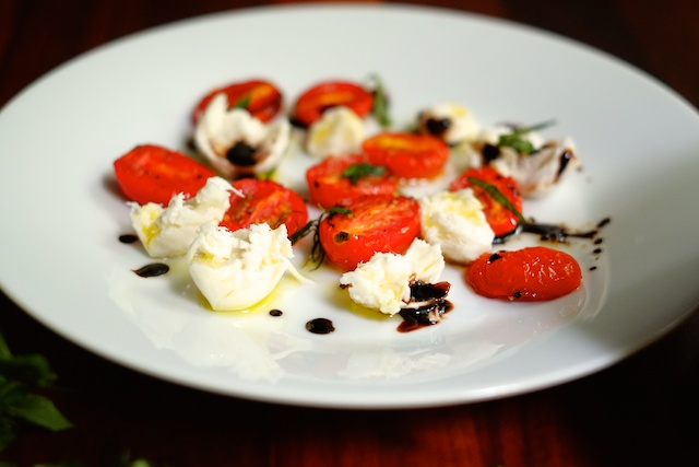 roasted tomato caprese with balsamic reduction