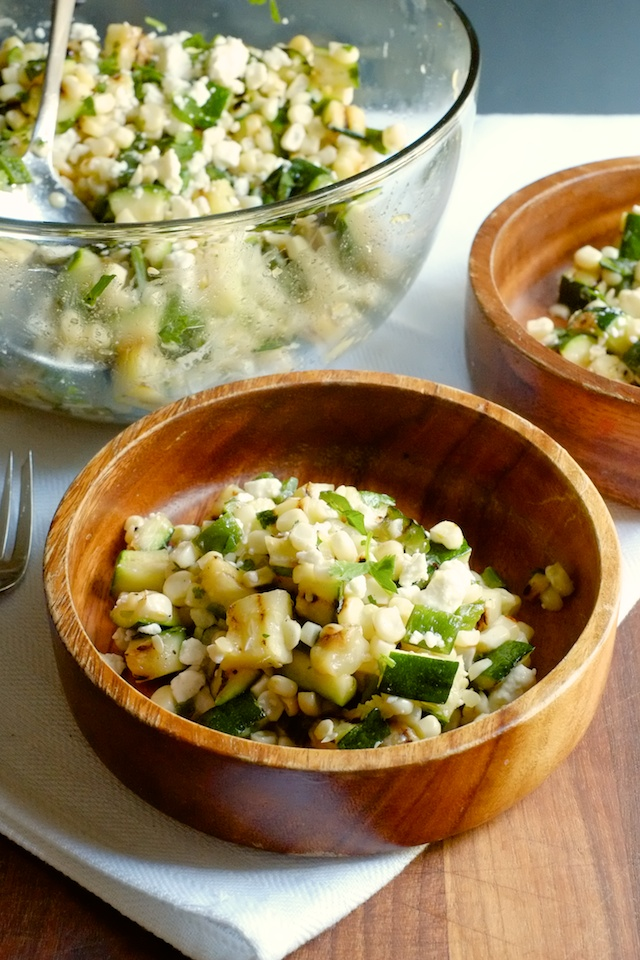 Corn and Zucchini Salad with Poblano, Feta, and Honey Lime Dressing