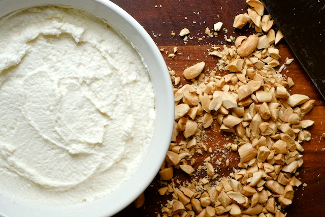 honey almond baked ricotta with goat cheese and lemon