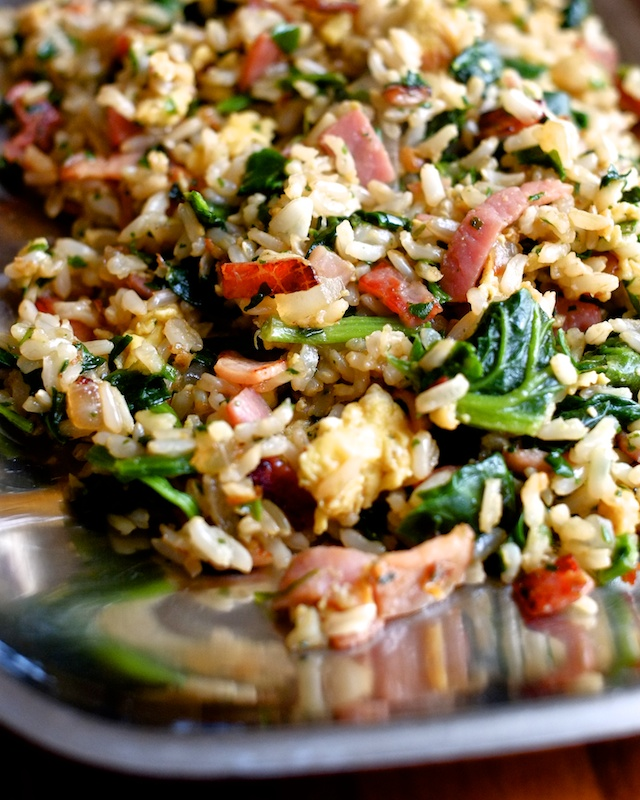 ham fried rice with spinach