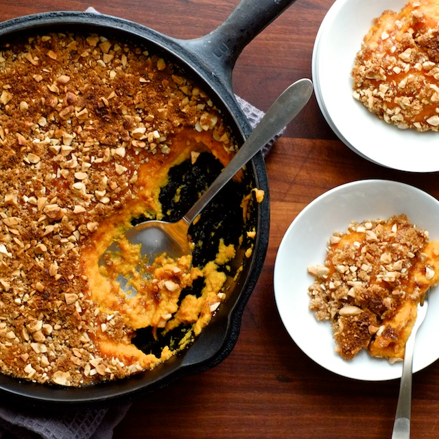 Toasted Nut and Brown Sugar Topped Sweet Potato Casserole