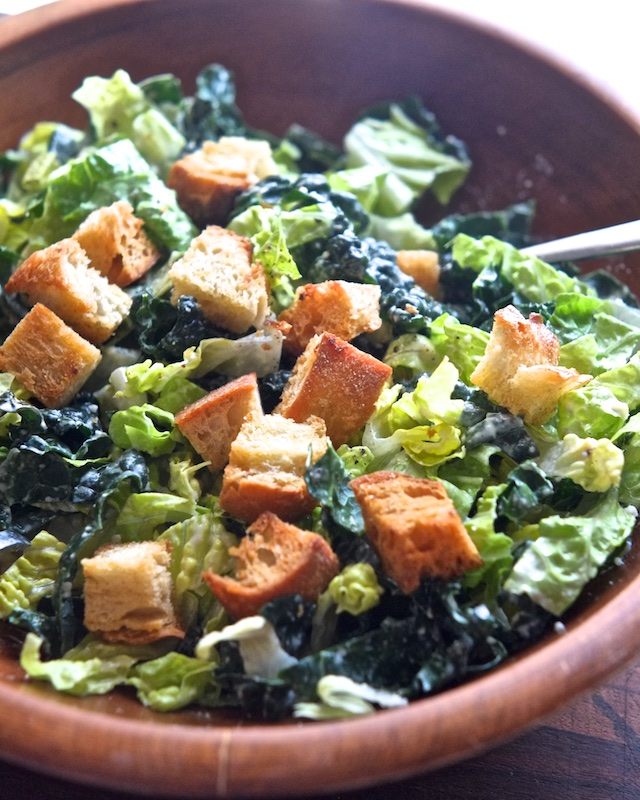 Kale and Romaine Salad with Shortcut Caesar Dressing