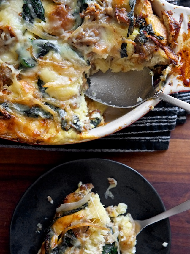 Breakfast Strata with Sausage, Spinach, and Gruyere