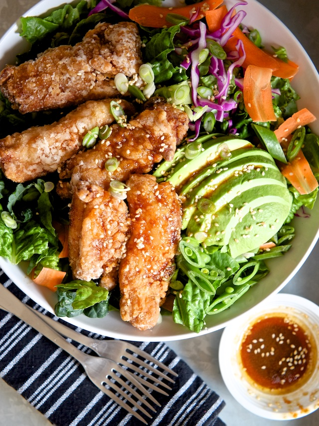 Japanese Fried Chicken Salad with Sesame Soy Dressing | Sweet Salty ...