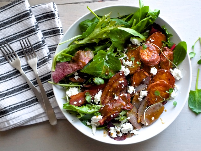 Roasted Sweet Potato Salad with Goat Cheese and Bacon