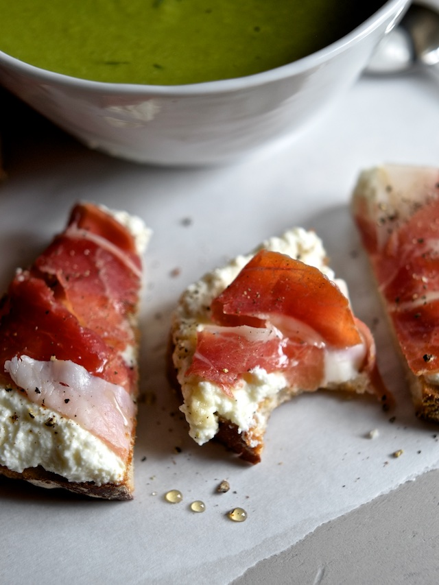 Lemon Dill Pea Soup with Prosciutto Ricotta Tartines