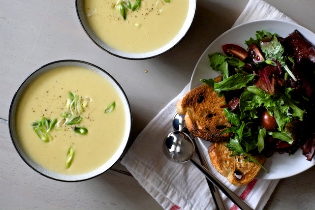 Baked Potato Cheddar Soup With Leeks and Garlic