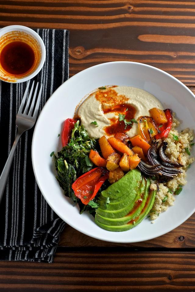 Quinoa Power Bowls with Avocado, Hummus and Smoked Paprika