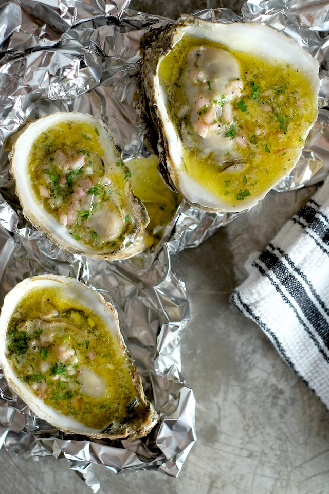 Broiled Oysters with Mignonette Butter