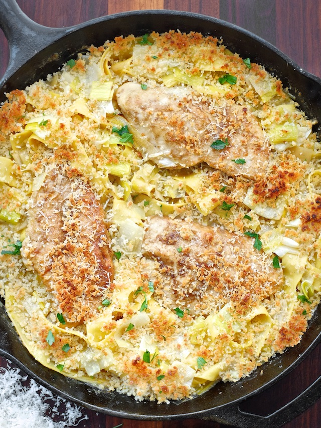 Braised Chicken and Leeks with Crunchy Panko Parmesan Pasta